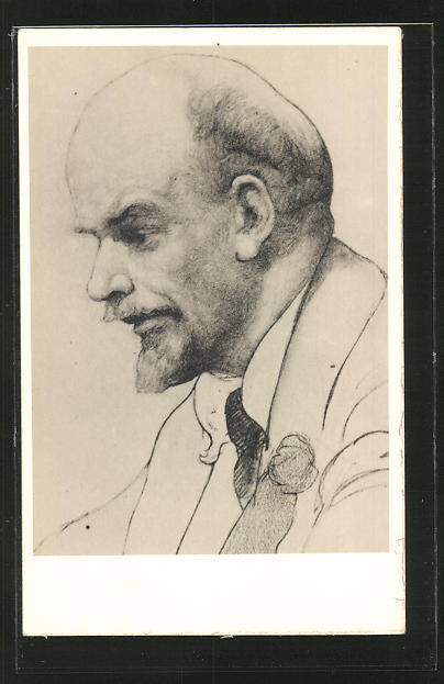 Künstler-AK Lenin, Profilportrait, Studie