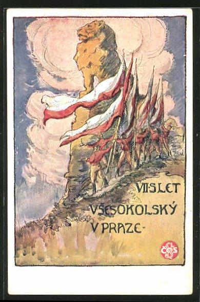 AK Sokol 1920, VII. Slet Vsesokolsky v Praze, Athleten mit Flaggen