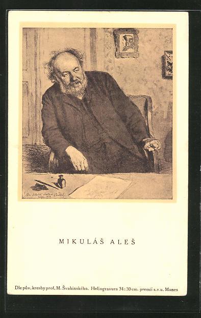 AK Der Maler Mikulas Ales an einem Tisch sitzend