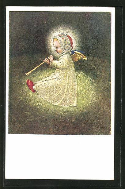 Künstler-AK Josef Bachlechner: Engel auf einer Flöte spielend