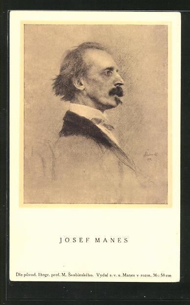 AK Porträt des Malers Josef Manes