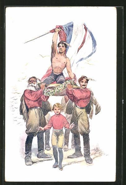 AK Sokol 1926, Athlet mit Flagge wird von Männern getragen