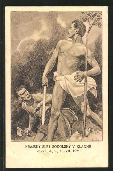 AK Sokol 1921, Nackter Athlet mit Schwert