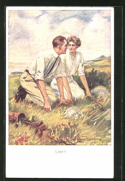 Künstler-AK Clarence F. Underwood: Golfspieler suchen einen Ball