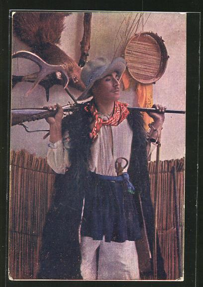 AK Junger Jäger mit Gewehr