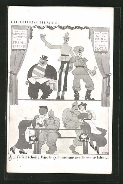 AK Propaganda 1. Weltkrieg, Heurigenluft: Letztes Auftreten der Triple-Entente