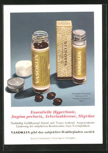 AK Medikament Vasoklin bei essentieller hypertonie, Angina pectoris, Migräne