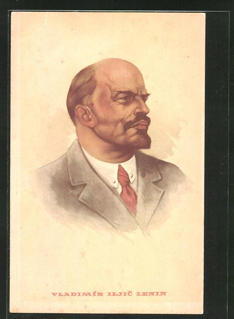 AK Bildnis Lenins mit roter Krawatte