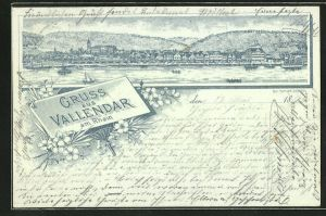 Lithographie Vallendar / Rhein, Ortsansicht vom Wasser aus gesehen