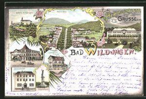 Lithographie Bad Wildungen, Hotel Hessischer Hof, Hotel zur Post, Hotel Villa Elfriede und Schloss Friedrichstein