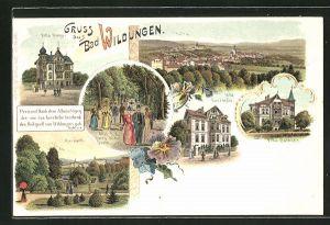 Lithographie Bad Wildungen, Ortsansicht, Hotel Villa Ronge, Hotel Villa Concordia, Hotel Villa Bathildis und Kurpark