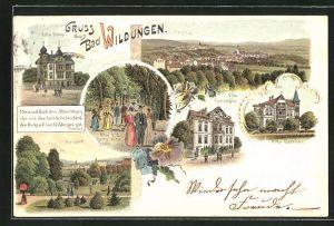 Lithographie Bad Wildungen, Ortsansicht aus der Vogelschau, Hotels Villa Ronge, Villa Bathildis und Villa Concordia