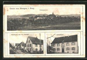 AK Biengen, Ortsansicht aus der Vogelschau, Handlung von Th. Fischer und Schulhaus