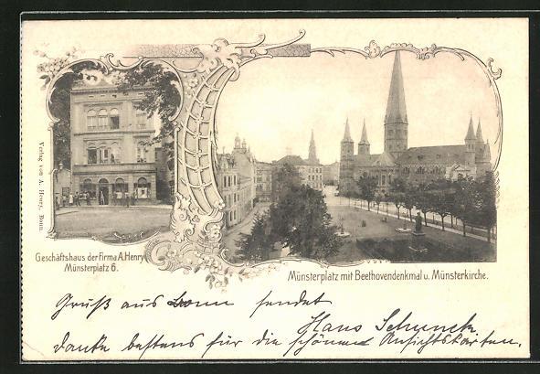 AK Bonn, Geschäftshaus d. Firma A. Henry, Strasse am Münsterplatz 6, Münsterplatz m. Beethovendenkmal