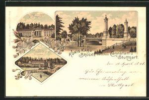 Lithographie Cannstatt, König Karl-Brücke, Kurhaus und Standbild Kaiser Wilhelm I., Leuze'sches Mineralbad