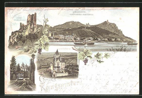 Lithographie Königswinter, Drachenburg & Drachenfels, Ruine Drachenfels, Drachenburg, Zahnradbahn