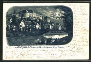 Lithographie Tübingen, Schloss und Alleenbrücke im Mondschein