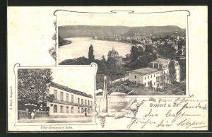 AK Boppard a. Rh., Ortsansicht aus der Vogelschau, Hotel-Restaurant Salm