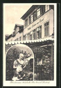 AK Caub, Gasthof Elslein von Caub mit junger Frau