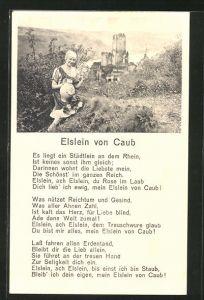 AK Caub / Rhein, Gasthof Elslein von Caub, Gedicht