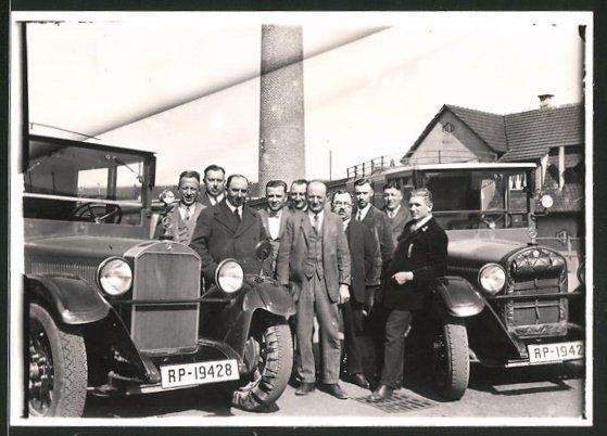 Fotografie Bus Mercedes Benz der Reichspost, Kfz-Kennzeichen RP-19428 & RP-19427