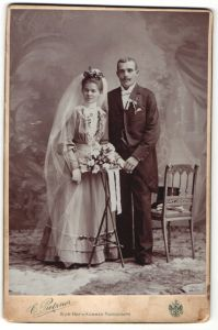 Fotografie C. Pietzner, Wien, Portrait Braut und Bräutigam, Hochzeit