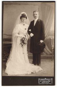 Fotografie P. Zallow, Berlin-S, Portrait Braut und Bräutigam, Hochzeit