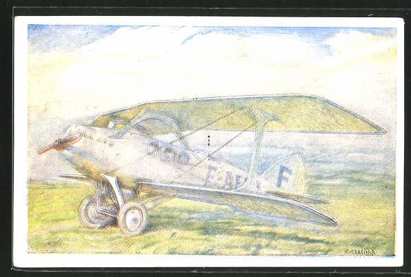 Künstler-AK Doppeldecker-Flugzeug der Flugpost