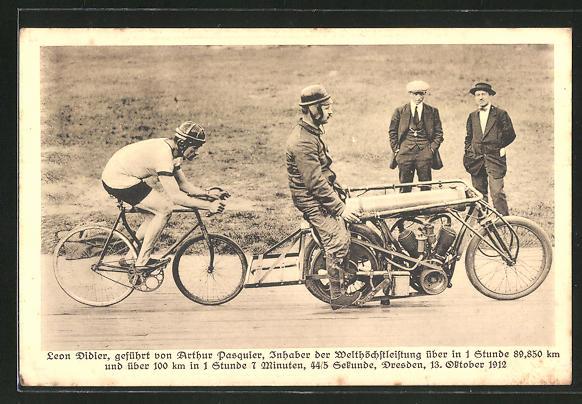 AK Radsportler Leon Didier, geführt von Arthur Pasquier auf dem Schrittmacher-Motorrad