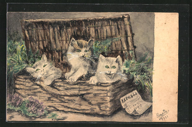 Künstler-AK Handgemalt: Drei kleine Kätzchen in einem Korb