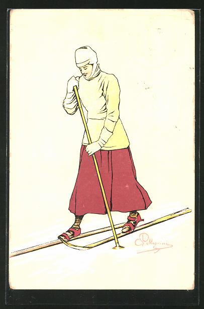 Künstler-AK Carlo Pellegrini: Skiläuferin in Winterkleidung