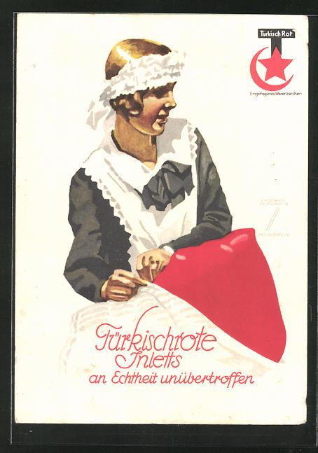 Künstler-AK Ludwig Hohlwein: Reklame für Türkischrote Inletts, Dienstmädchen bezieht die Betten
