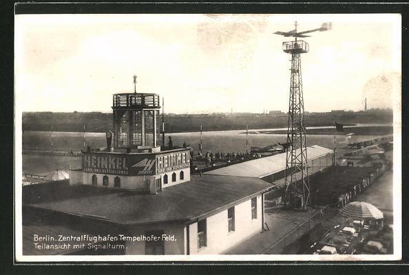AK Berlin, Zentralflughafen Tempelhofer Feld, Teilansicht mit Signalturm