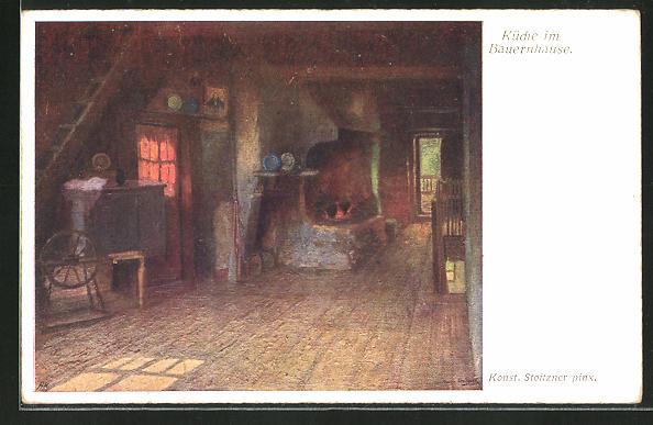 Künstler-AK sign. Josef Stoitzner: Küche im Bauernhause