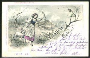 Künstler-AK sign. A. Stephan: Ostergruss, Mädchen mit Osterlamm