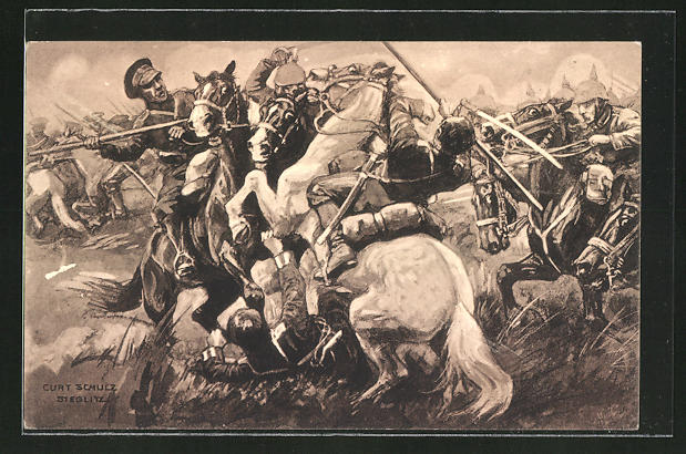 Künstler-AK Curt Schulz-Steglitz: Die Armee Hindenburgs schlägt die Russen bei Wloclawec