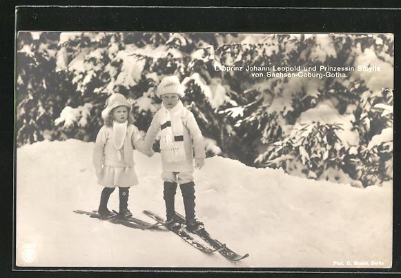 AK Erbprinz Johann Leopold und Prinzessin Sibylla von Sachsen-Coburg-Gotha auf Skiern