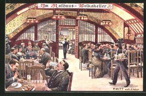 Künstler-AK F. Witt: Wien, Gasthof Volkskeller im Rathaus
