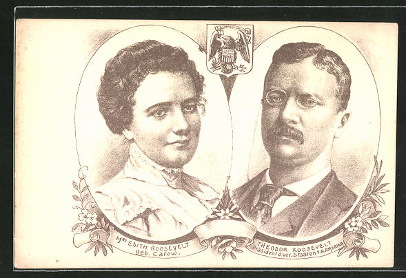 AK Präsident der USA Theodor Roosevelt nebst Gattin Edith