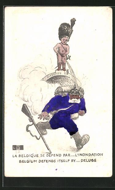 AK Belgium defends itself by... Deluge, kleiner Belgier pinkelt auf einen Soldaten mit Pickelhaube, Propaganda Entente