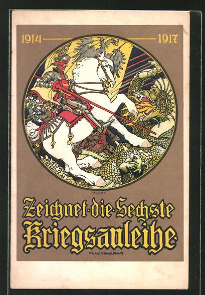 AK Zeichnet die Sechste Kriegsanleihe, 1914-1917, Soldat zu Pferd
