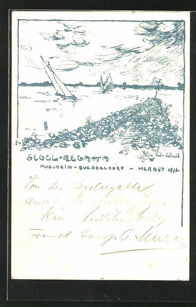 Künstler-AK Düsseldorf, Segel-Regatta im Herbst 1910