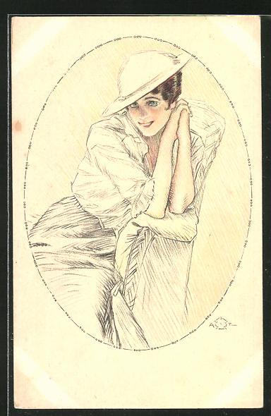 Künstler-AK Terzi: schöne Frau mit Hut