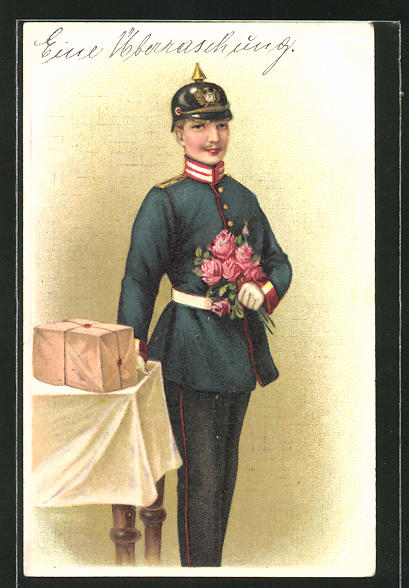 Präge-AK Soldat mit Pickelhaube & Blumen in Uniform