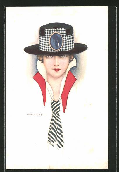 Künstler-AK Nanni: junge Frau mit Hut und Krawatte