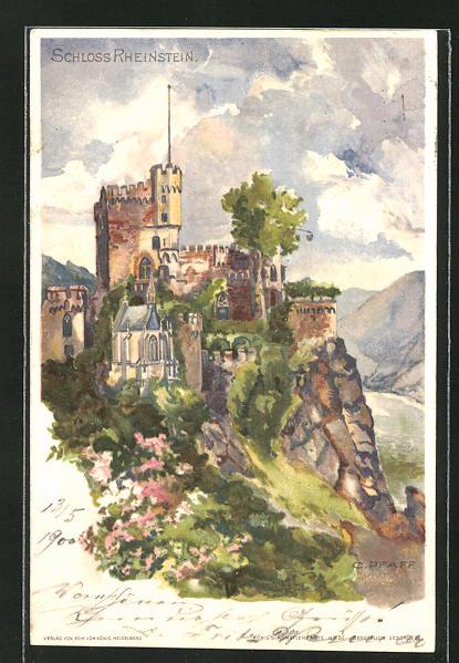 Künstler-AK C. Pfaff: Ansicht von Schloss Rheinstein