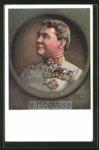 Künstler-AK Maxim Trübe: Heerführer v. Koevess in Uniform mit Ordenspange