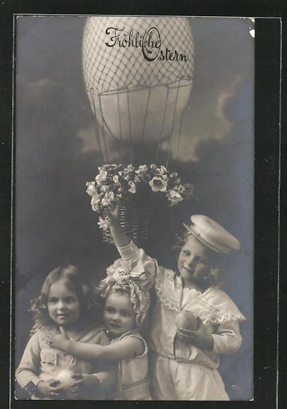 AK Fröhliche Ostern, Kinder mit Osterei-Ballon