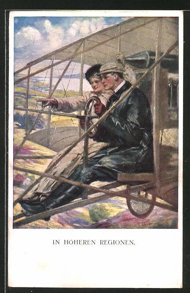 Künstler-AK Clarence F. Underwood: Pilot mit seiner Liebsten in höheren Regionen