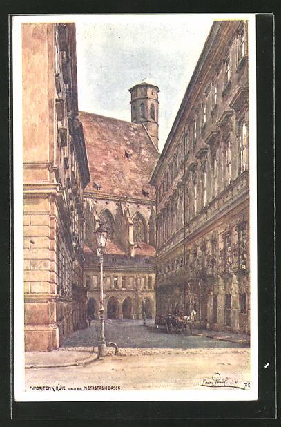 Künstler-AK Erwin Pendl: Wien, Minoritenkirche aus der Metastasiogasse gesehen